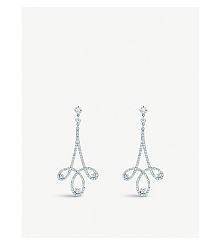 TIFFANY & CO Tiffany Enchant® scroll earrings in platinum with diamonds