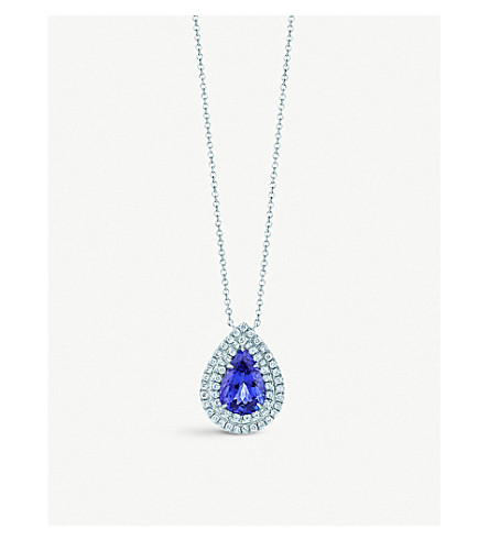 TIFFANY & CO Tiffany Soleste pendant in platinum with diamonds and a tanzanite