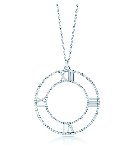 TIFFANY & CO Atlas® open pendant in 18k white gold with diamonds, large