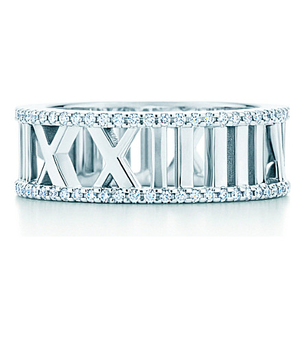 TIFFANY & CO Atlas® open ring in 18k white gold with diamonds