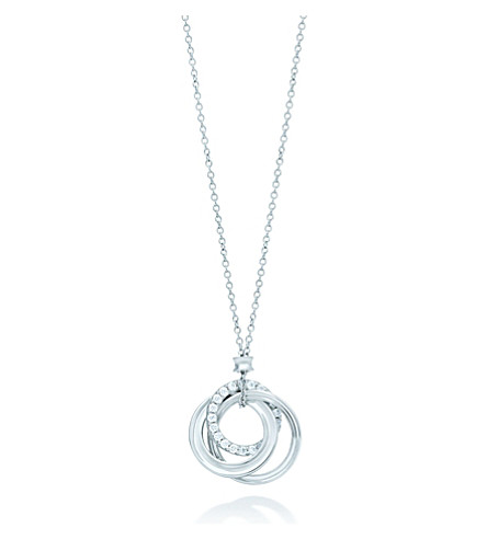 TIFFANY & CO Tiffany 1837 interlocking pendant in 18k white gold with diamonds