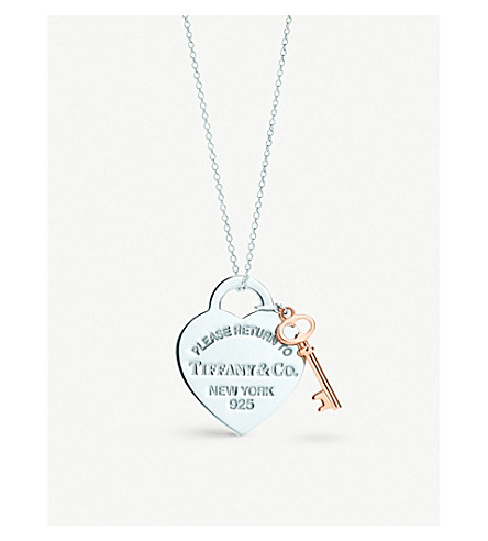 TIFFANY & CO Return to Tiffany™ heart key pendant in silver and RUBEDO™ metal, medium