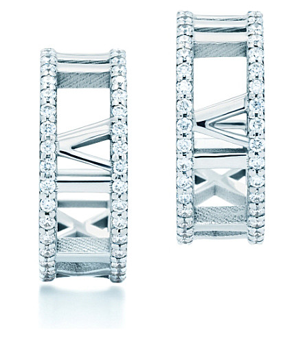 TIFFANY & CO Atlas® hoop earrings in 18k white gold with diamonds, small
