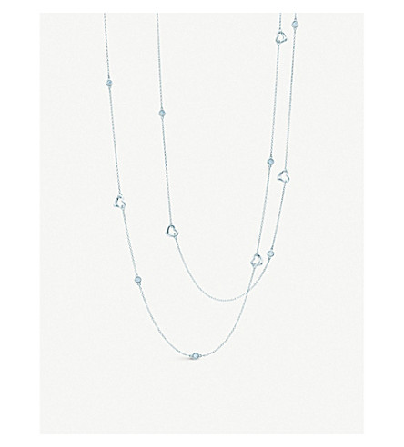 TIFFANY & CO Elsa Peretti® Diamonds by the Yard® Open Heart necklace in sterling silver