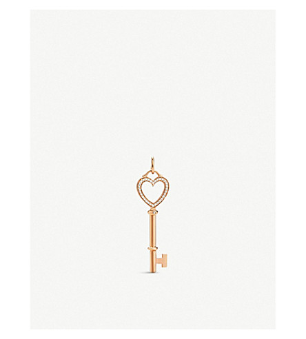 TIFFANY & CO Tiffany Keys diamond heart key pendant in 18k rose gold, medium