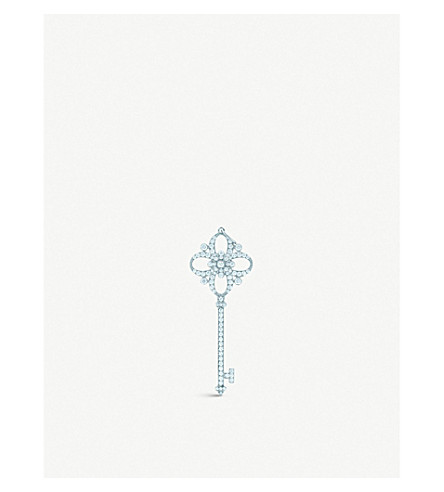 TIFFANY & CO Tiffany Keys floret key pendant in platinum with diamonds
