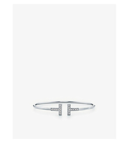 TIFFANY & CO Tiffany T wire bracelet in 18k white gold with diamonds