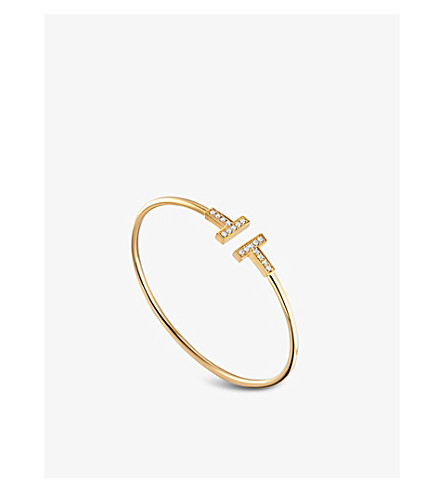 TIFFANY & CO Tiffany T wire bracelet in 18k gold with diamonds