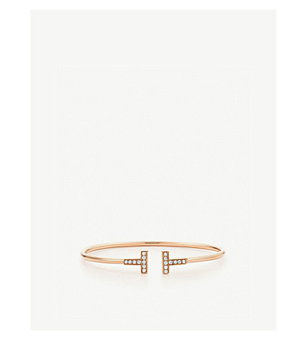 TIFFANY & CO Tiffany T wire bracelet in 18k rose gold with diamonds