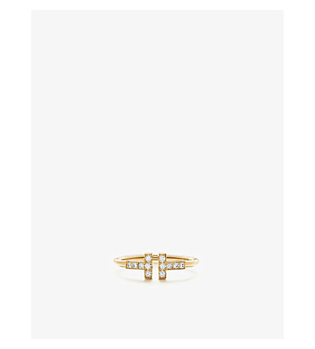TIFFANY 和 CO TIFFANY18k 黄金带钻石的 T 线环