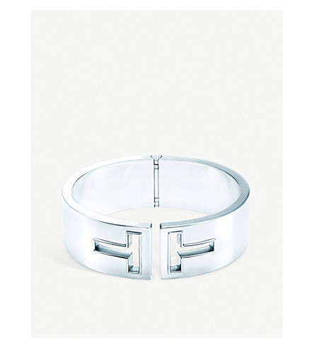 TIFFANY & CO Tiffany T cutout hinged cuff in sterling silver, medium