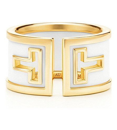 TIFFANY & CO Tiffany T cutout ring in 18k gold with white ceramic