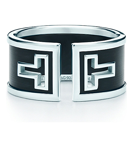 TIFFANY & CO Tiffany T cutout ring in sterling silver with black ceramic