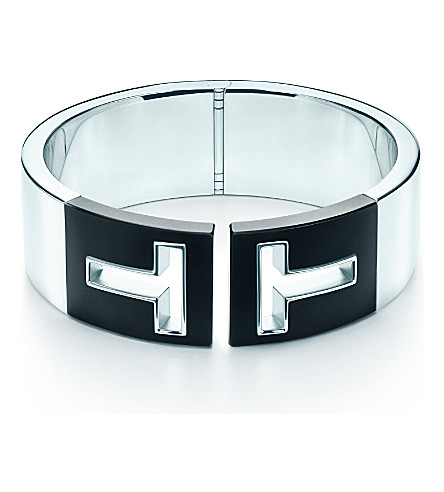 TIFFANY & CO Tiffany T cutout hinged cuff in sterling silver with black ceramic