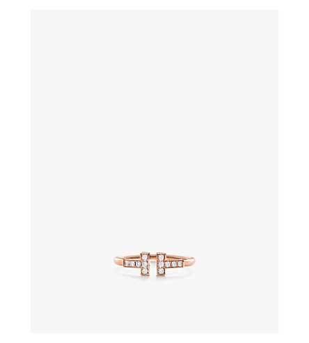 TIFFANY & CO Tiffany T wire ring in 18k rose gold with diamonds