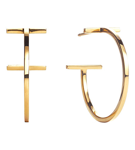 TIFFANY & CO Tiffany T wire hoop earrings in 18k gold, medium
