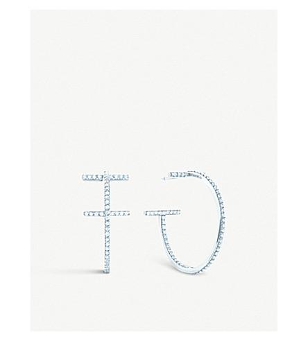 TIFFANY 和 CO TIFFANYT 线箍耳环在18k 白金与金刚石, 中等