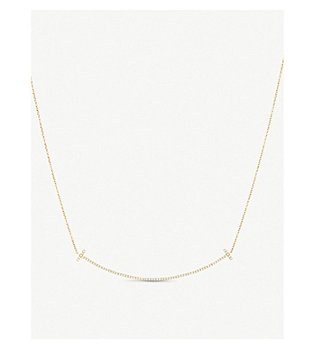 TIFFANY & CO Tiffany T smile pendant in 18k gold with diamonds