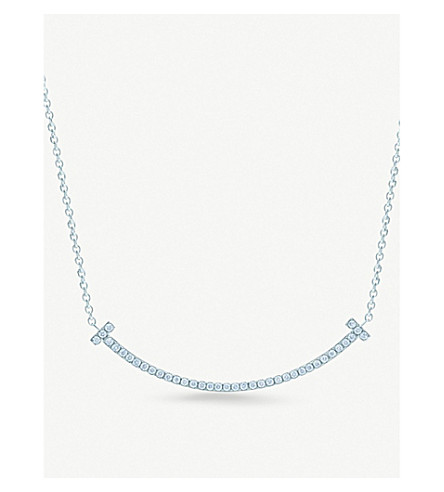 TIFFANY & CO Tiffany T smile pendant in 18k white gold with diamonds, mini
