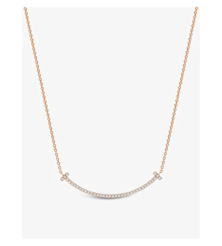 蒂芙尼 & CO 蒂芙妮 T 微笑吊坠在18k 玫瑰金与钻石, 迷你