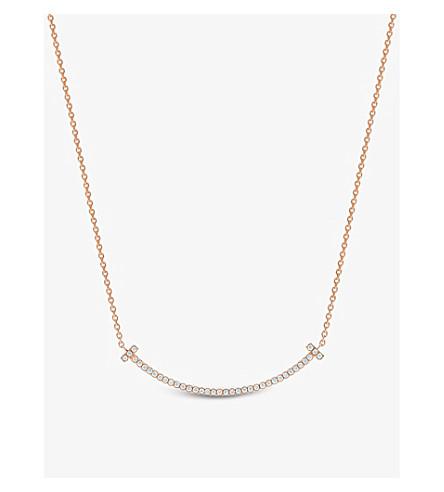 TIFFANY 和 CO TIFFANYT 微笑挂件在 18k Rose Gold 与钻石, 迷你