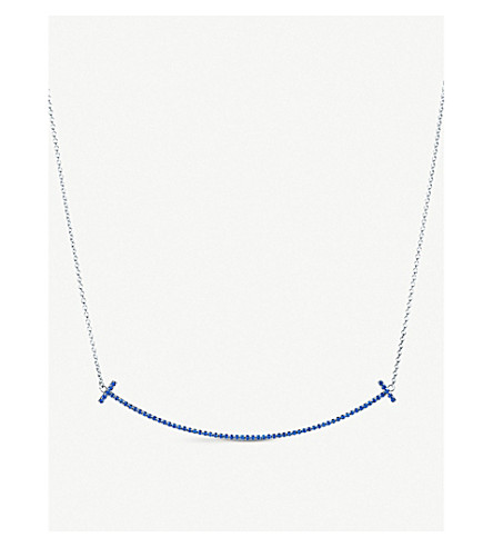 TIFFANY & CO Tiffany T smile pendant in 18k white gold with sapphires