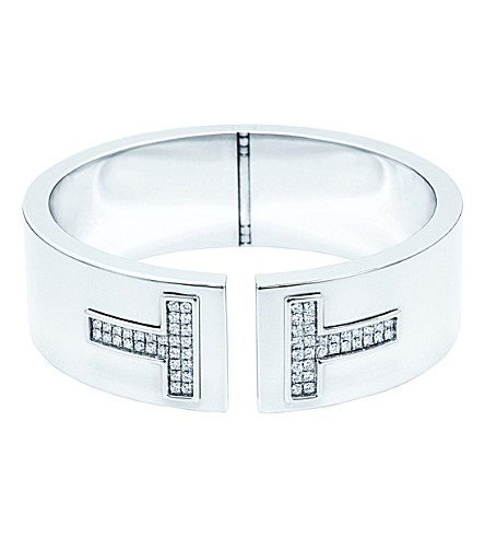 TIFFANY & CO Tiffany T cutout cuff in 18k white-gold with diamonds
