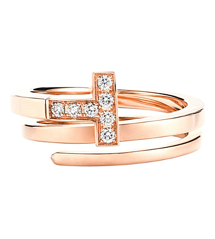 TIFFANY & CO Tiffany T wrap ring in 18k rose-gold with diamonds