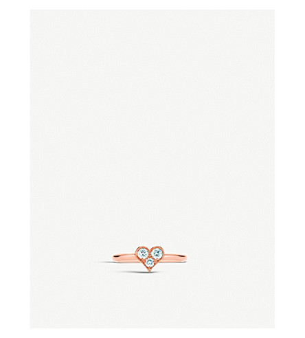 TIFFANY & CO 18ct rose-gold and diamond heart ring