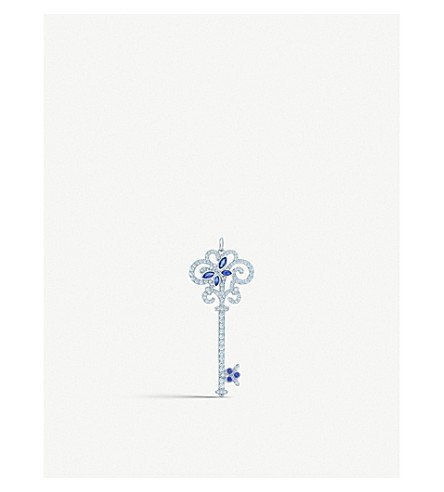 TIFFANY & CO Enchant Dragonfly platinum, diamond and sapphire key pendant