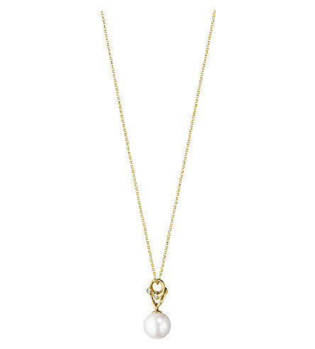 GEORG JENSEN Magic pendant 18ct yellow-gold, pearl and diamond pendant necklace