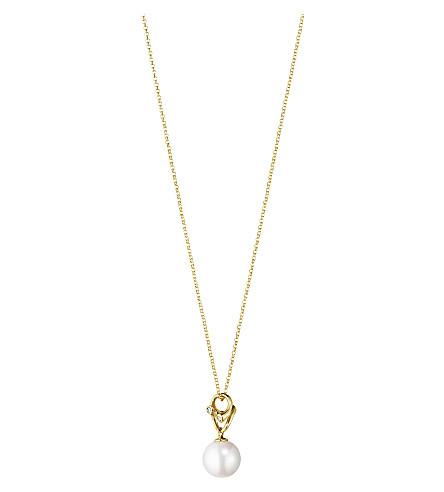 GEORG JENSEN魔术吊坠18ct 黄色黄金, 珍珠和钻石坠项链