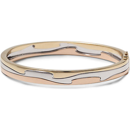 GEORG JENSEN Fusion 18 carat yellow, white and rose gold bangle (Rose, gold & white