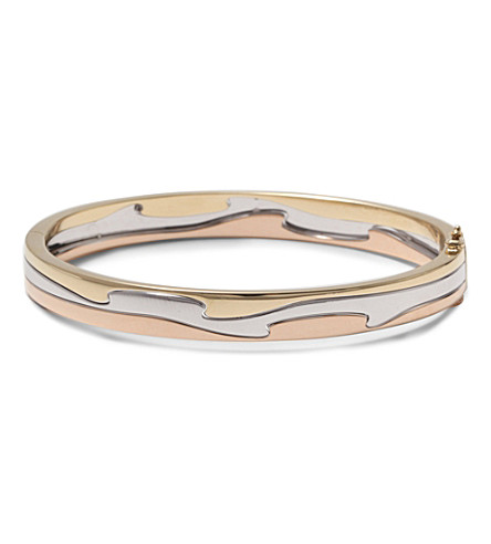 GEORG JENSEN Fusion 18ct yellow, white and rose gold bangle (Rose, gold & white