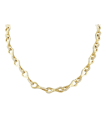 GEORG JENSEN Dune 18ct yellow-gold and brilliant-cut diamond necklace