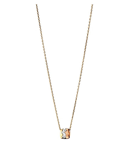 GEORG JENSEN Fusion 18ct white, yellow and rose gold diamond pendant necklace (Yg/rg/wg
