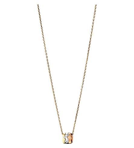 GEORG JENSEN 融合18ct 白色, 黄色和 Rose Gold 钻石吊坠项链 (贵钢/rg/工作组