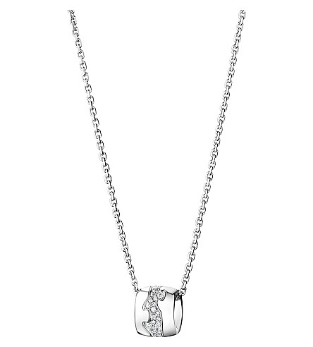 GEORG JENSEN Fusion 18ct white gold diamond pendant necklace (White+gold