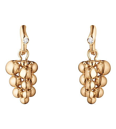GEORG JENSEN Moonlight Grapes 18ct rose-gold and diamond earrings