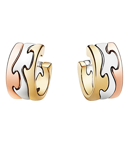 GEORG JENSEN Fusion 18kt rose, white and yellow gold earrings