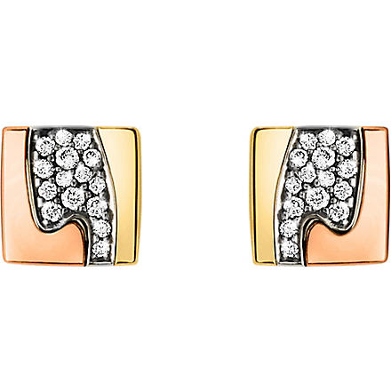 GEORG JENSEN Fusion pavé-set stud earrings (Rose,+gold+white