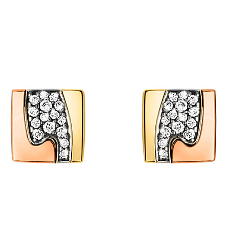 GEORG JENSEN Fusion pavé-set 18ct gold stud earrings (Rose,+gold+&+white