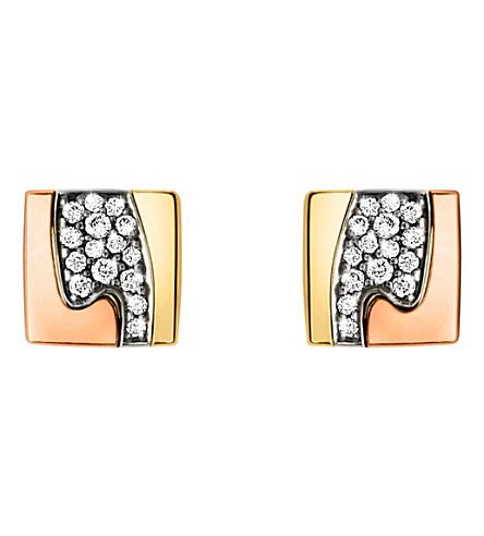 GEORG JENSEN Fusion pavé-set 18ct gold stud earrings (Rose,+gold+&+white