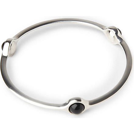 GEORG JENSEN Sphere bangle with black agate (Black+agate