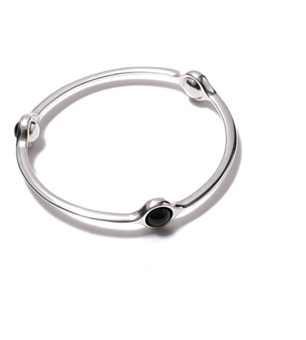 GEORG JENSEN Sphere sterling silver black agate bangle (Silver+&+black