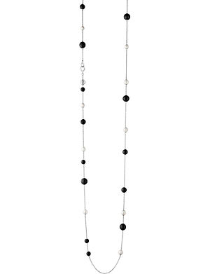 GEORG JENSEN Sphere Sautoir pearl and black agate necklace