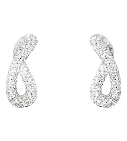 GEORG JENSEN Infinity sterling silver and diamond earrings