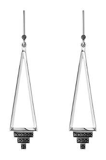 GEORG JENSEN Nocturne sterling silver black diamond earrings