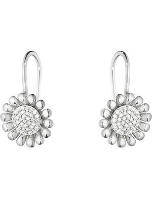 GEORG JENSEN Sunflower sterling silver and diamond earrings