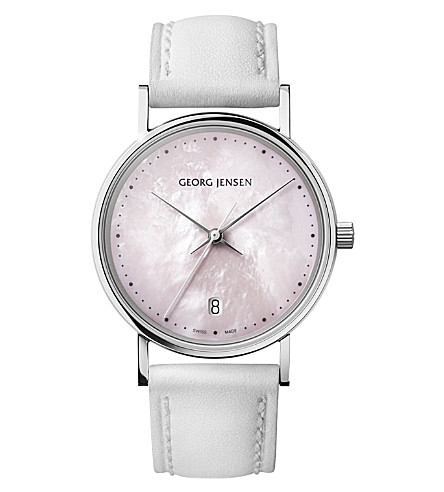 GEORG JENSEN Koppel stainless steel and leather watch 32mm